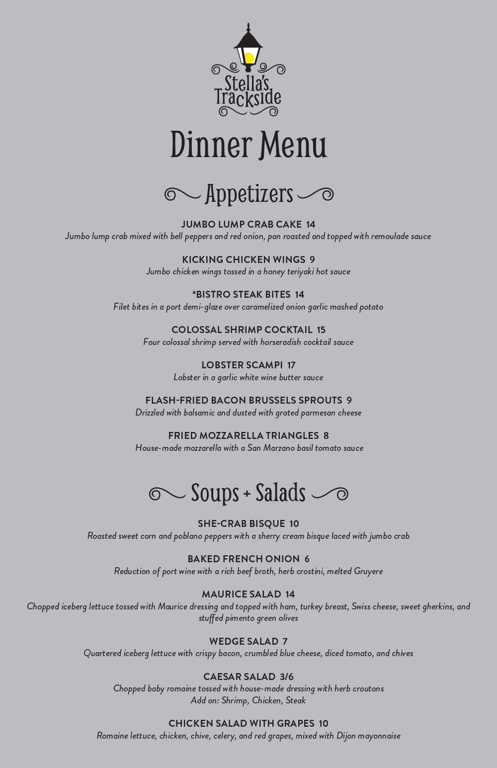 Stella's Trackside Dinner Menu Fall 2019